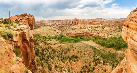 Deep canyon, rocks and mountains