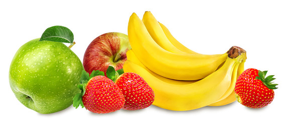 Fototapete - apples,bananas and strawberries isolated on white