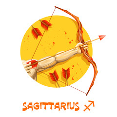 Creative digital illustration of astrological sign Sagittarius. Ninth of twelve signs in zodiac. Horoscope fire element. Logo sign with Archer. Graphic design clip art for web, print. Add your text