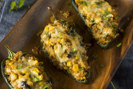 Homemade Roasted Quinoa Stuffed Poblano Peppers