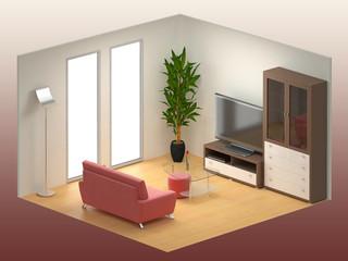 Stanza soggiorno moderna isometrica