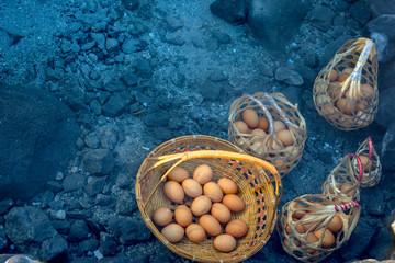 Boiled eggs, hot springs