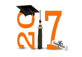 graduation 2017 orange numbers and black cap and tassel with dipolma isolated on white