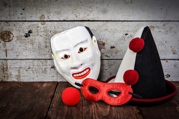 Vintage carnival masks, hat and nose