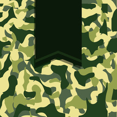 army camouflage with ribbon banner image vector illustration design