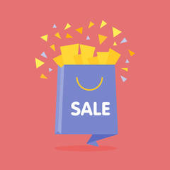 Origami style flat open sale bag with confetti vector illustration