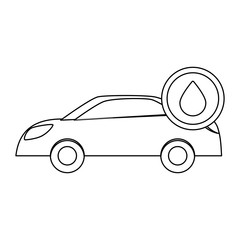 Figure car with drop oil icon image, vector illustration