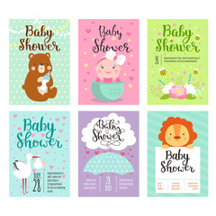 Baby shower invitation vector card.