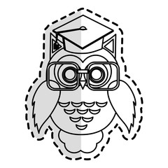 owl with graduation cap over white background. vector illustration
