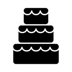 Stacked wedding cake dessert with frosting flat vector icon for food apps and websites
