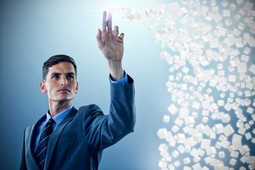 Composite image of young sophisticated businessman gesturing 3d