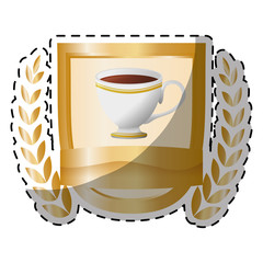 Gold picture coffee cup with wheat image, vector illustration