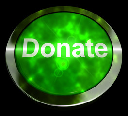 Donate Button In Green Showing Charity 3d Rendering