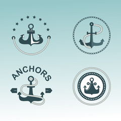 Anchor nautical symbols vector badges.