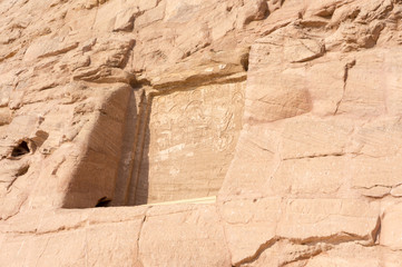 Egyptian ancient temple engravings on the wall