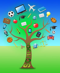 School Tree Represents Learning Educated 3d Illustration