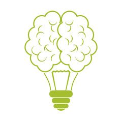 Green brain bulb icon design, vector illustration image
