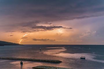 Lightning in the ocean
