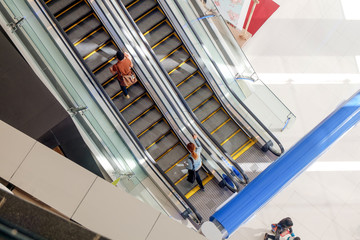 Top view of escalator in shopping mall