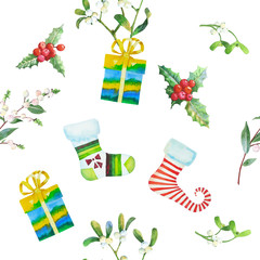 Seamless Pattern with Christmas  Sock and Box