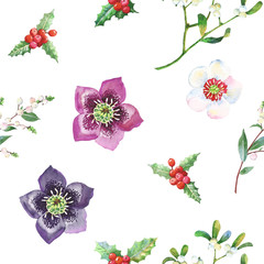 Seamless Pattern with Christmas Flowers