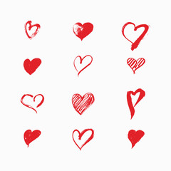 Hand drawn hearts by vector brush. Design elements for Valentine's day.