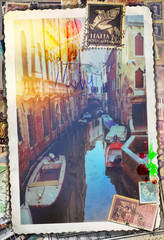 Old  and romantic lane in Venice city - vintage postcard