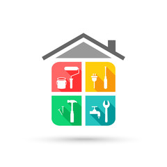 House maintenance concept with working tool icons in colorful flat design