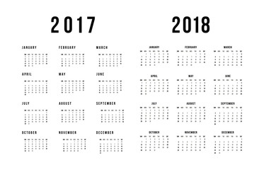Simple calendar for 2017 and 2018 On White Background