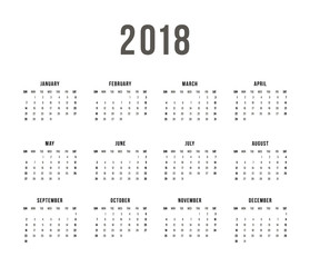 Calendar 2018 On White Background. Week Starts Sunday. Simple Vector Template
