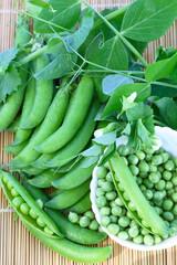 Fresh organic green peas