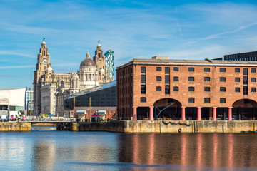 Albert Dock and Three Graces building in Liverpool