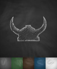Helm knight icon. Hand drawn vector illustration