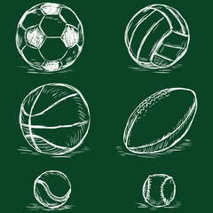 vector chalk illustration - sport balls