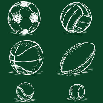vector chalk illustration - sport balls