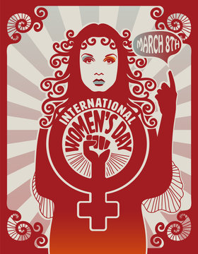 International women's day poster design, retro style, eps10 vector