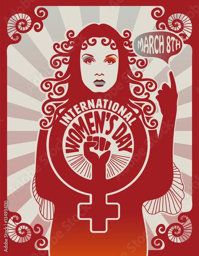 International women's day poster design, retro style, eps10 vector ...