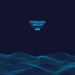 Abstract Technological Background Vector. Digital Landscape For Presentations