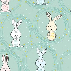 Vector seamless pattern with cartoon cute bunny