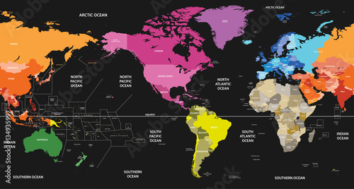 world political map colored by continents on black background and ...