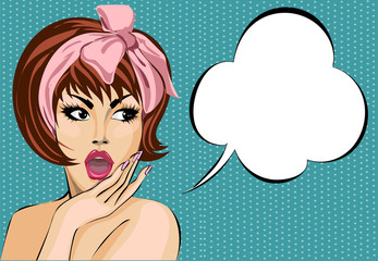 Pop art comic style surprised woman with speech bubble, pin up girl portrait, vector