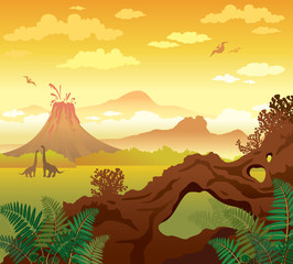 Prehistoric landscape. Arch, volcano and dinosaurs.