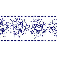 Seamless vector hand drawn floral pattern, endless border, frame with flowers, leaves. Decorative cute graphic line drawing illustration. Print for wrapping, background, fabric, decor, textile