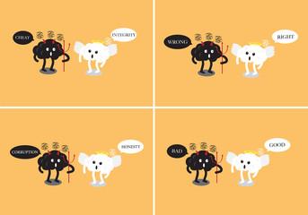 brain angel and brain devil cartoon debating