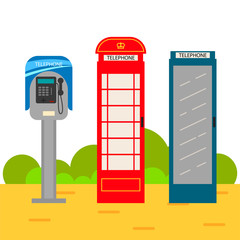 Telephone booth cartoon set. Modern and old style phone boxes on the ground.