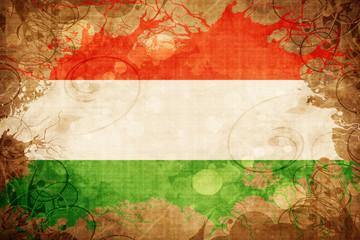 Grunge vintage Hungary flag