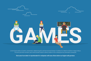 Games concept of young people using laptop and pc for playing e-sport game and having fun. Flat illustration of people sitting near big letters