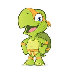 Smiling superhero turtle