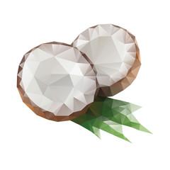 Polygonal coconut with leaf