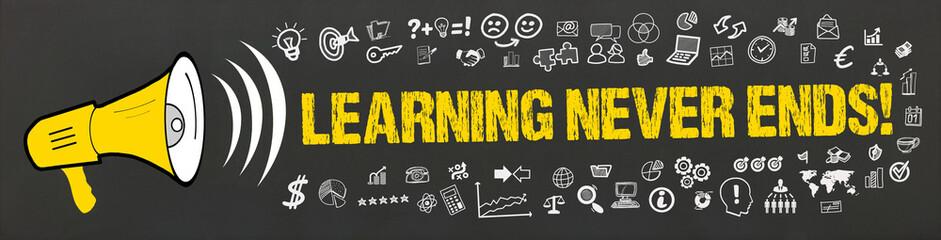 Learning Never Ends! / Megafon mit Symbole